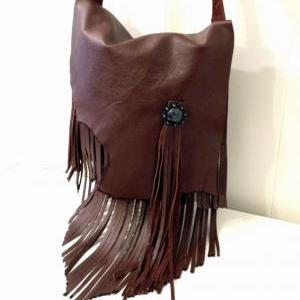 Chocolate Brown Leather Fringed Mes..