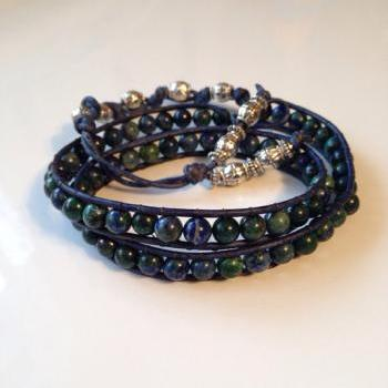Blue and Green Jasper Wrap Bracelet