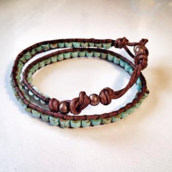 Leather and Turquoise Wrap Bracelet