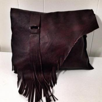 Dark Brown Marbled Leather Handbag